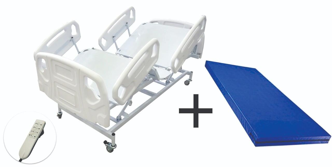 Cama Hospitalar Motorizada Com Elevação De Leito Luxo + Colchão Hospitalar